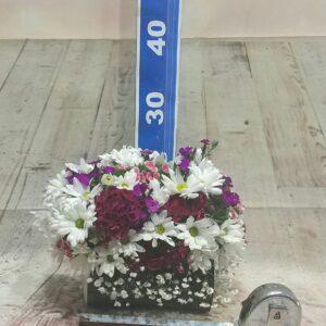 ısparta kütükde papatya ve renkli mevsim çiçekleri